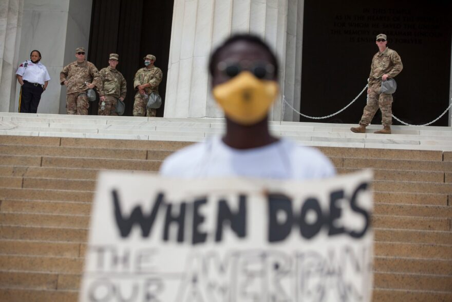 Members of the D.C. National Guard stand by the Lincoln Memorial during protests after the police killing of George Floyd.