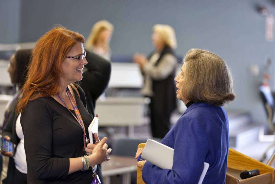 JoAnn Morgan, at right, speaking to Charlie Blackwell-Thompson, the first female launch director, who will lead countdown and launch for Artemis-1.