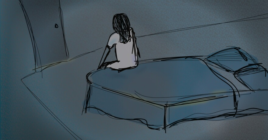 Illustration of young woman sitting on the edge of a bed.