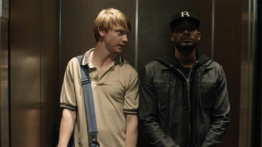 Adam (Calum Worthy) and his rap battle mentor Behn Grymm (Jackie Long) in <em>Bodied</em>.
