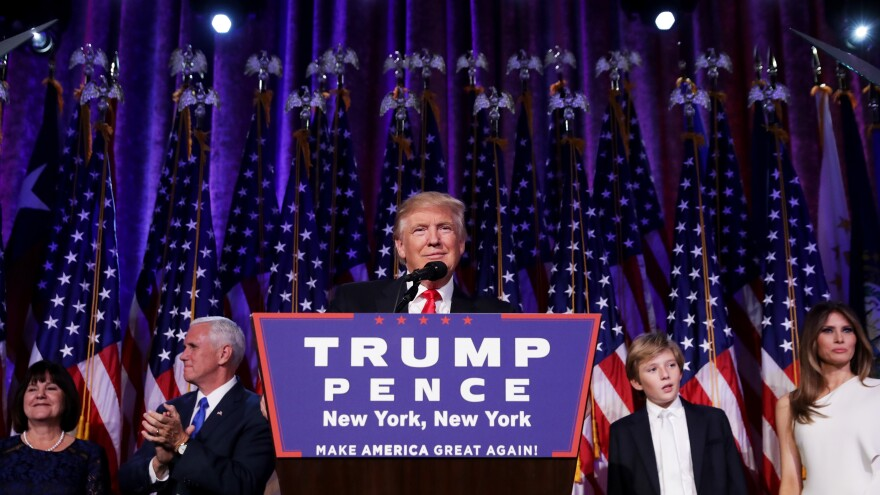President-elect Donald Trump delivers a victory speech to supporters gathered in New York City during the early hours of Nov. 9.