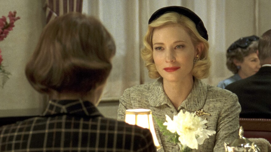 Rooney Mara and Cate Blanchett (right) begin a love affair after meeting in a department store in <em>Carol</em>.