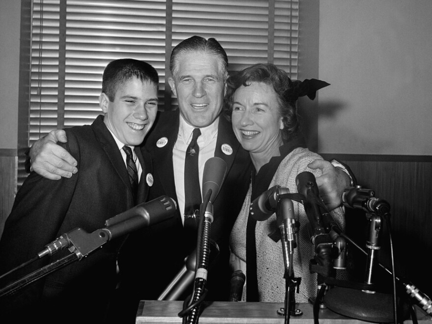 Mitt Romney, then 14, with his father, George, and mother, Lenore, in 1962.