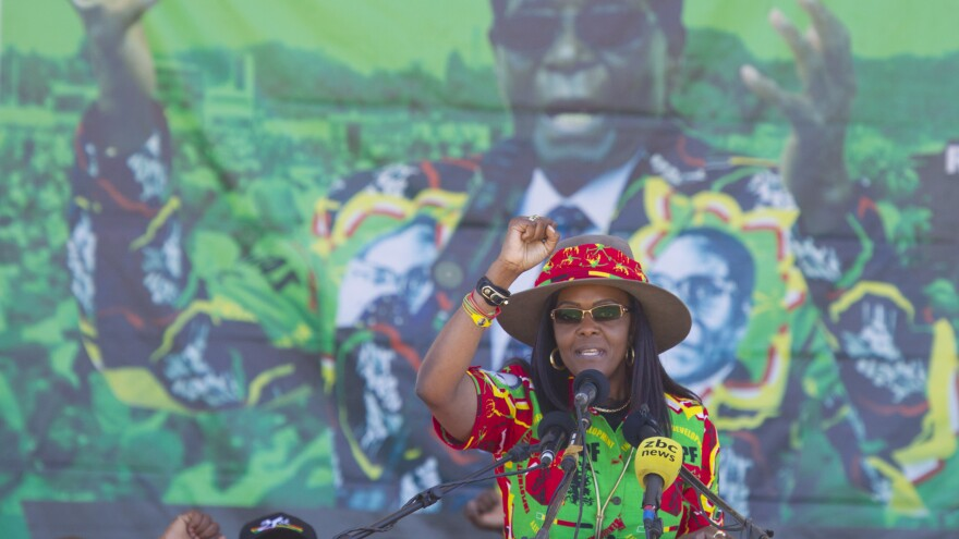 Grace Mugabe — Zimbabwe's first lady, speaking at a rally earlier this summer — had been scheduled to appear in court in South Africa.