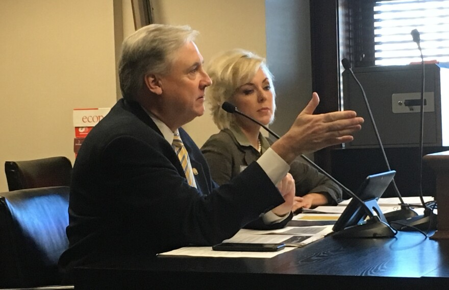 The bill's sponsor, Rep. Mark Lowery of Maumelle, speaks to the Arkansas House Education Committee Tuesday alongside Arkansas Department of Higher Education Director Maria Markham.