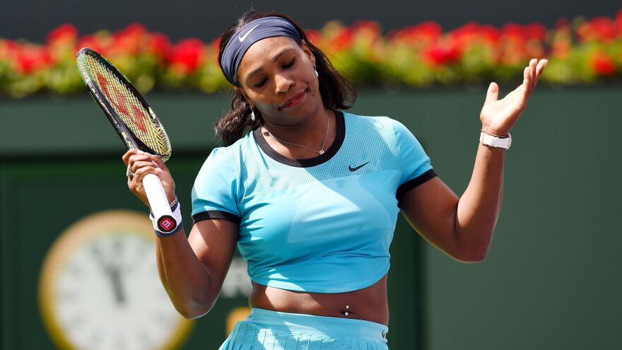 "Serena Williams, seen here during the final of the BNP Paribas Open in Indian Wells, Calif., responded to comments by the tourney's director, saying, ""Last year, the women's final at the U.S. Open sold out well before the men. I'm sorry, did Roger play in that final, or Rafa or any man play in that final that was sold out before the men's final?"""
