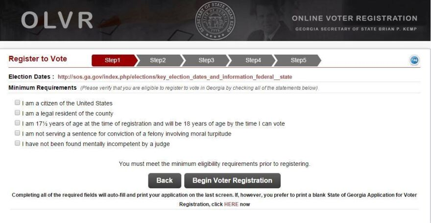 Georgia's online voter registration website.
