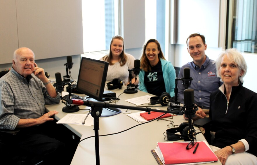 Joining Don Marsh (at left) for a conversation about pool safety this week were (from center left) Emily Wujcik, Stephe McCormick, Birch McMullin and Lisa McMullin.