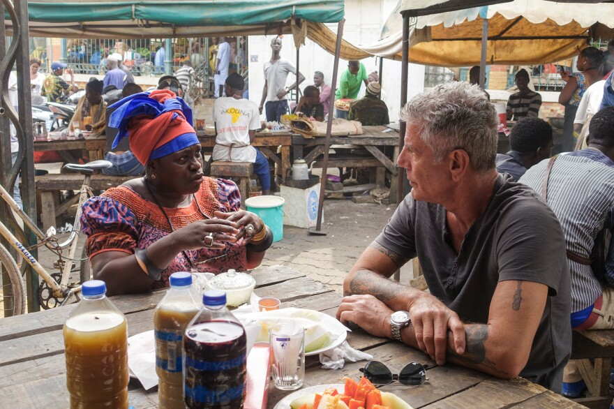 NPR correspondent Ofeibea Quist-Arcton shares breakfast with Anthony Bourdain at Marché Kermel in Dakar, Senegal.