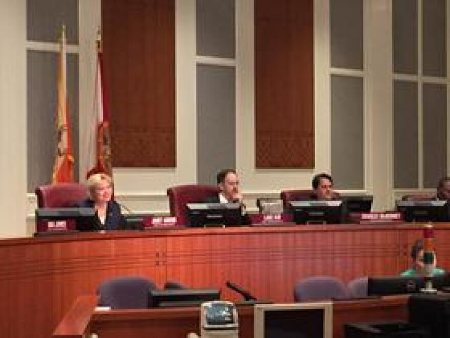 Rep. Janet Adkins (R-Fernandina Beach), Rep. Lake Ray (R-Jacksonville) and Rep. Charles McBurney (R-Jacksonville) listen to public comments at Jacksonville City Hall on Wednesday, May 27.