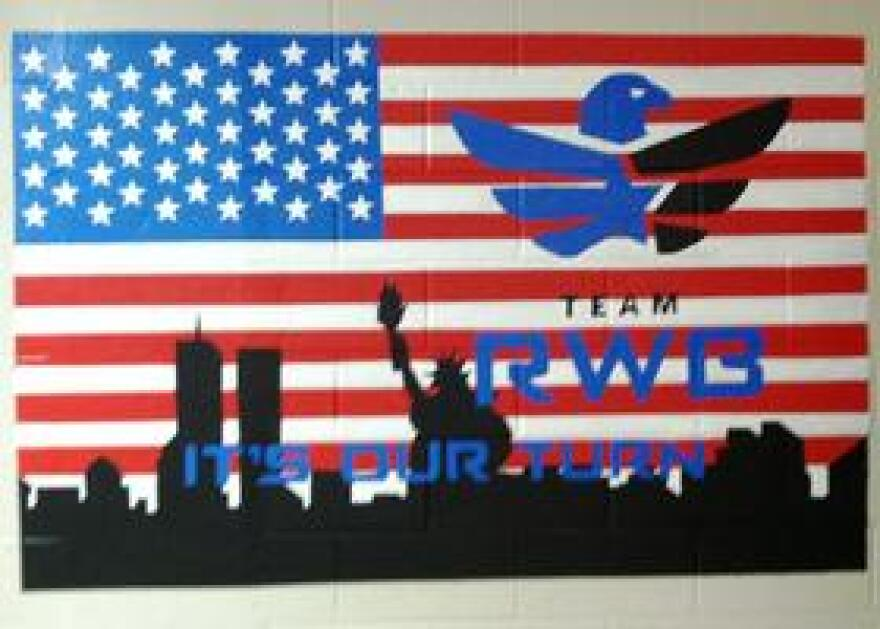 A mural in the recreation room at Team RWB headquarters in Tampa.