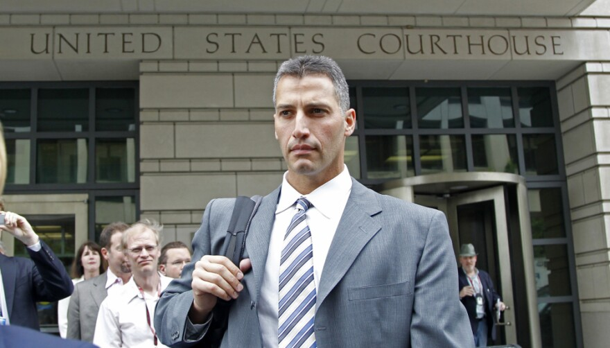 Former Major League baseball pitcher Andy Pettitte leaves a Federal Court in Washington on Wednesday.