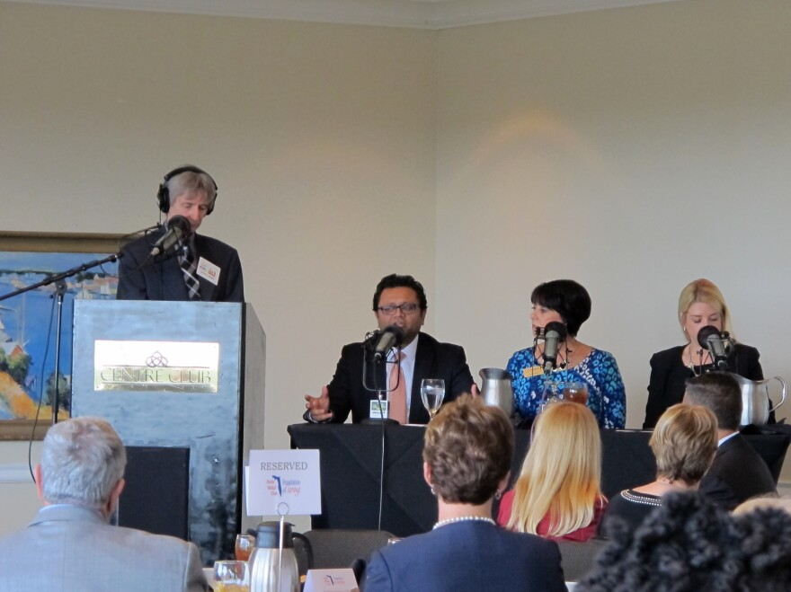 From left to right: WUSF's Carson Cooper, Dr. Maulik K. Trivedi, Connie Rose and Attorney General Pam Bondi.
