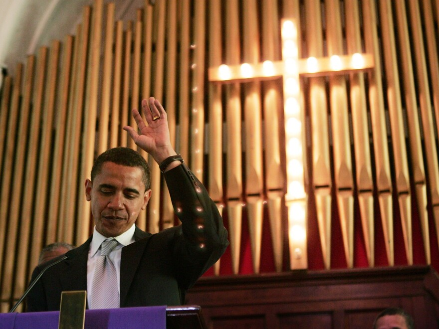 In 2007, then-Sen. Obama addresses a crowd gathered at Brown Chapel AME Church for the commemoration of the 1965 march in Selma, Ala.