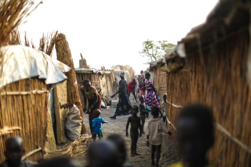 More than 120,000 people have fled their homes and now live in huts made from reeds and tarps in the crowded camp.