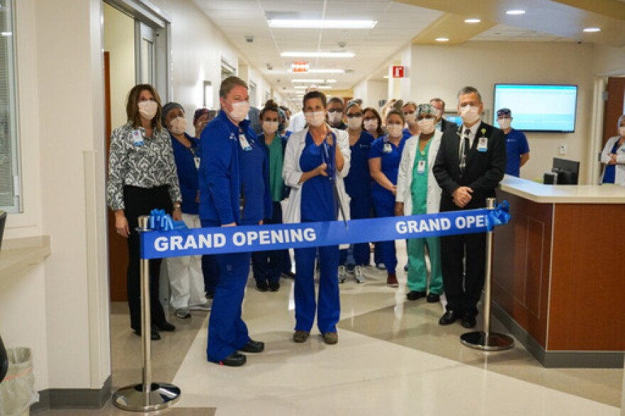 Staff at Lee Health's Gulf Coast Medical Center celebrate the opening of the hospital's new 52-bed intensive care unit