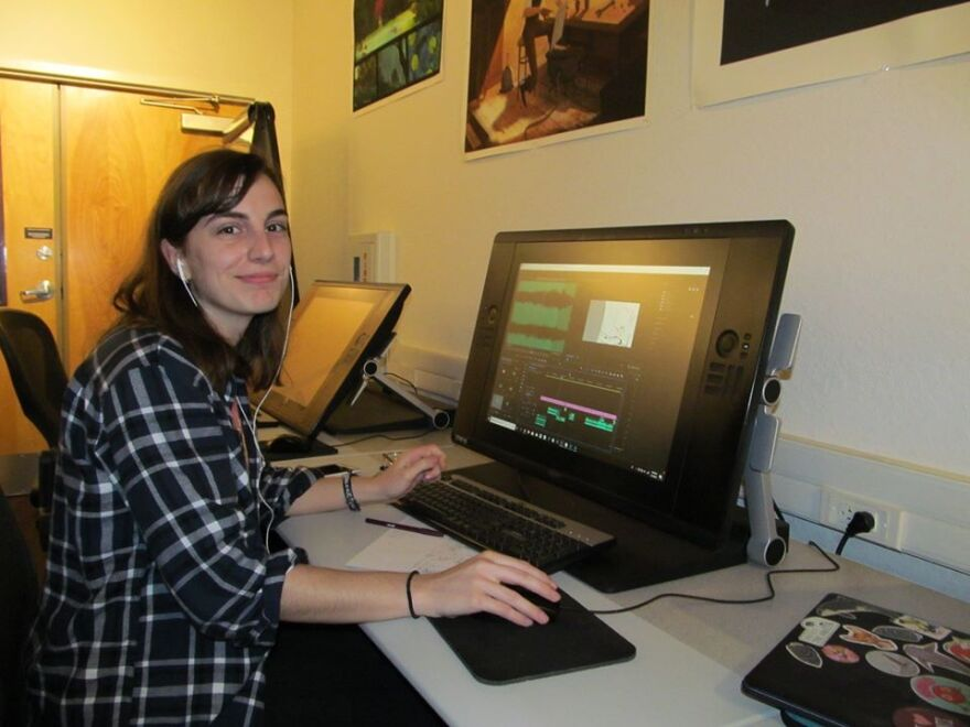 Female student at computer