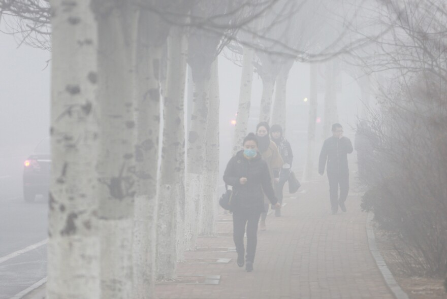 A smog alert day in Dalian, China. The photo was taken on December 19.