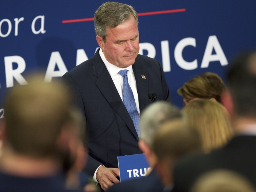 Jeb Bush reacts as he announces the suspension of his presidential campaign during an election night party at the Hilton Columbia Center on Feb. 20 in Columbia, South Carolina.