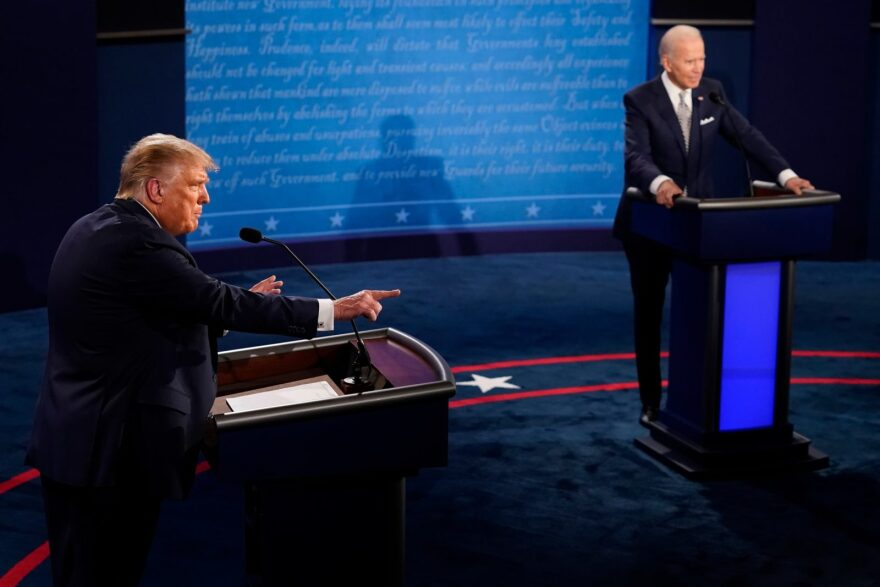 President Donald Trump speaks during the first presidential debate against former Vice President and Democratic presidential nominee Joe Biden in Cleveland, Ohio.
