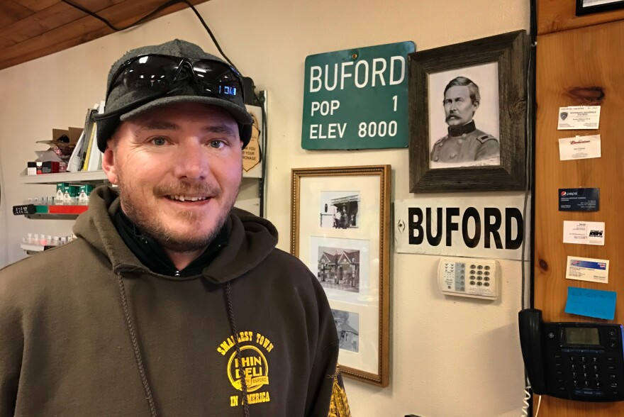 Jason Hirsch, the town manager, inside the Buford Trading Post. Buford was named after General John Buford, a Civil War general.