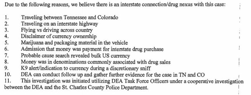 Officer Casey Boaz lays out his belief that money found in the car of Johnny Khamphengphet is connected to criminal activity in this screenshot of a police report.