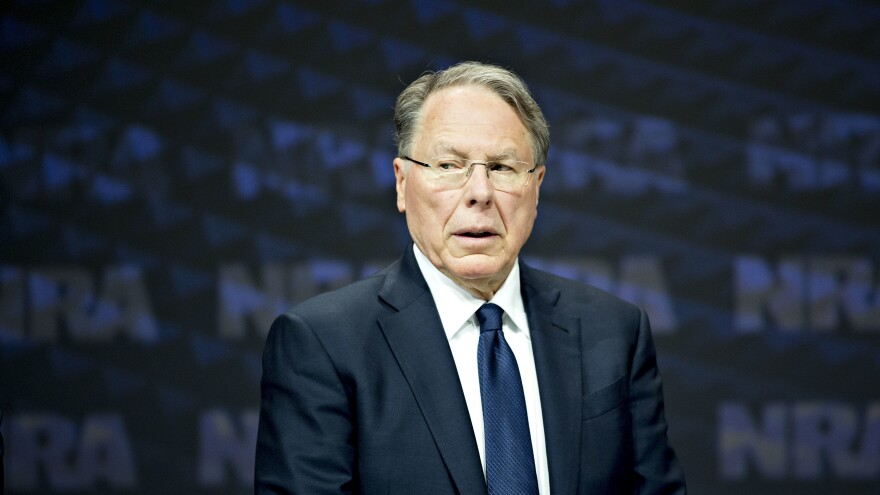 NRA CEO Wayne LaPierre stands onstage at the NRA annual meeting in Dallas on May 5, 2018. The New York attorney general announced Thursday she will launch a civil action to dissolve the association.