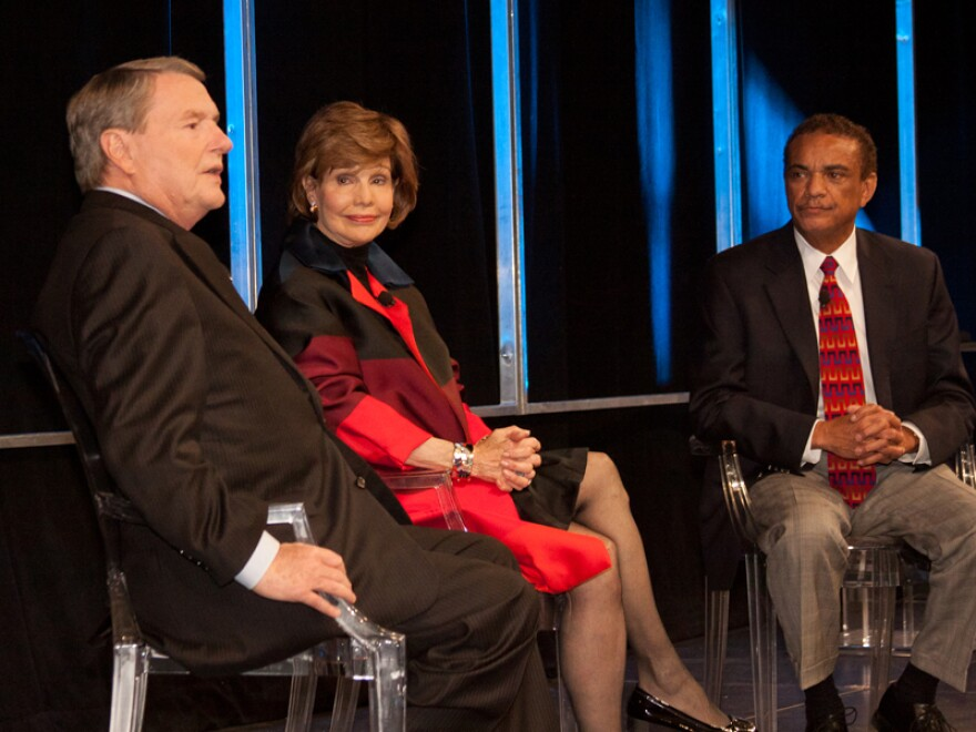 From left: Jim Lehrer with KERA-TV host Lee Cullum and longtime journalist Bob Ray Sanders at KERA's 50th anniversary event on Nov. 29, 2011 at the Wyly Theatre.