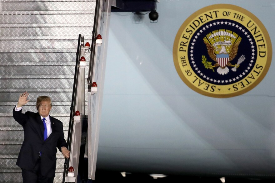 President Donald Trump arrives in Singapore on June 10, 2018. Trump is scheduled to meet with North Korean leader Kim Jong-un on June 12.