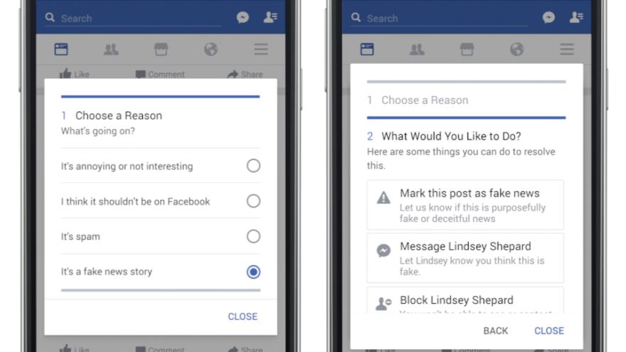 A mockup provided by Facebook shows the screens it will use to allow users to report a potential hoax or fake news story.
