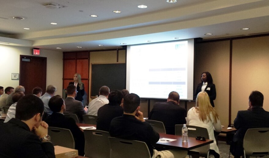 University of Central Florida students Nicole Enterlein and Taylor Cheeley present their Smartway product, a disposable funnel-like device which allows women to urinate standing up.