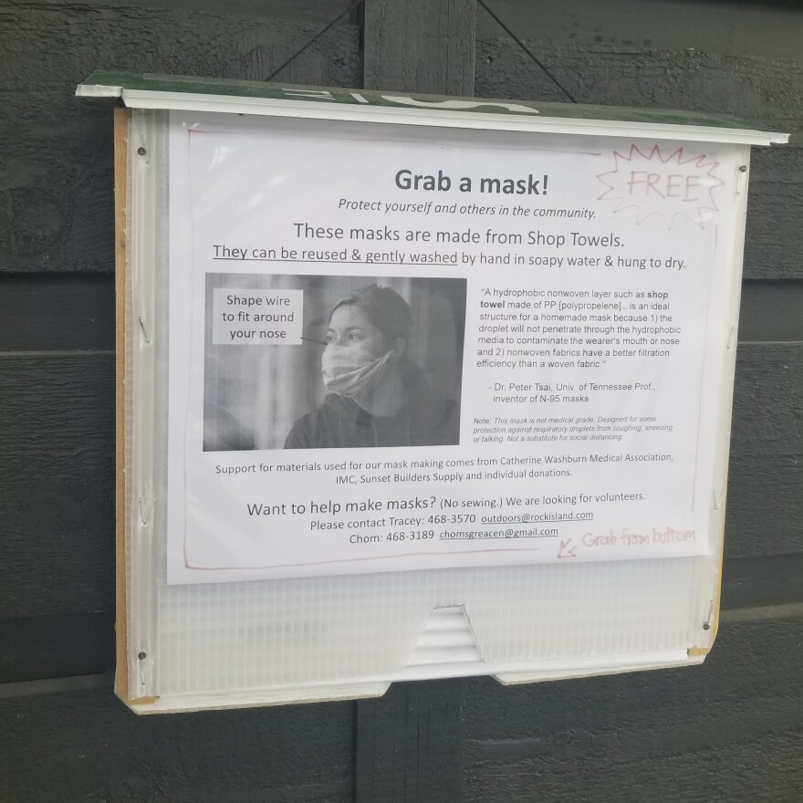 Chom Greacen created the Grab-and-Go Mask dispenser to help encourage her fellow residents on Lopez Island, Wash., to mask up. Volunteers sew the masks inside.