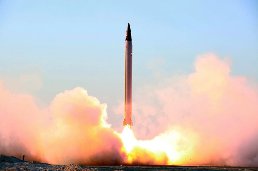 An image released by the Iranian Defense Ministry on Oct. 11 claims to show the launching of an Emad long-range ballistic missile in an undisclosed location. Iran tested a ballistic missile again in November, according to U.S. officials. The missile launches have been a source of friction between Iran and its rivals.