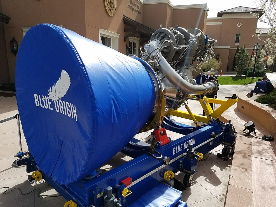 A developmental engine for the Blue Origin BE-4 rocket is shown in April 2018.