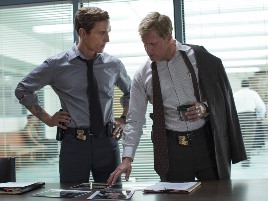 Matthew McConaughey and Woody Harrelson play partner detectives Rustin Cohle and Martin Hart in HBO's <em>True Detective</em>, nominated in several major categories Monday night.<strong></strong>