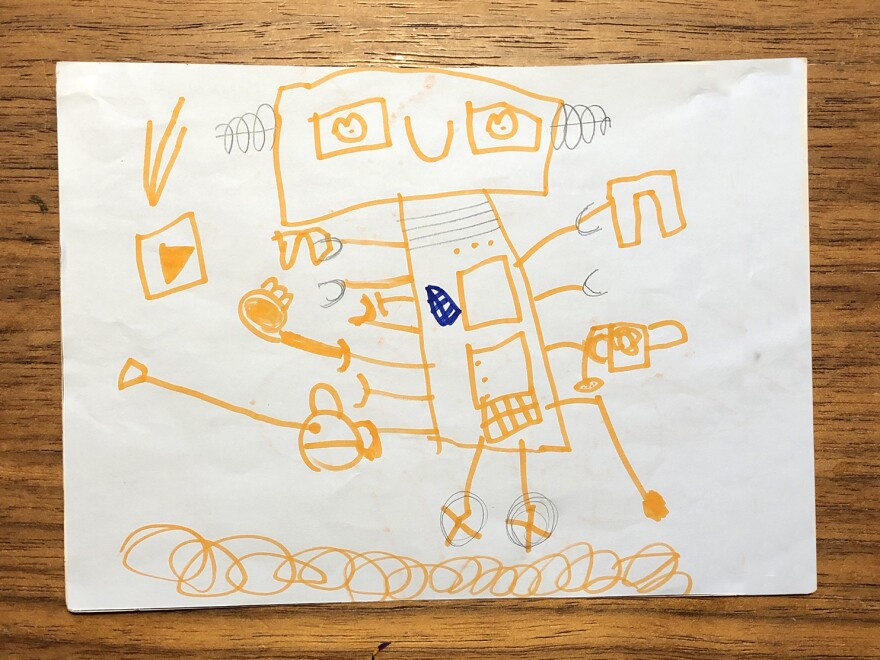 Five-year-old Belén Chávez Aguirre from Querétaro, Mexico, drew an impressive looking robot.