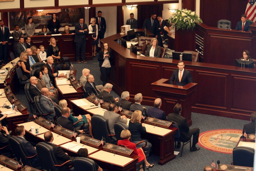 Republican State Rep. Chris Sprowls, 35, addresses the Florida House of Representatives, Tuesday, Sept. 17, 2019, in Tallahassee, Fla. Sprowls will serve as House Speaker for the coming term. (AP Photo/Bobby Caina Calvan)