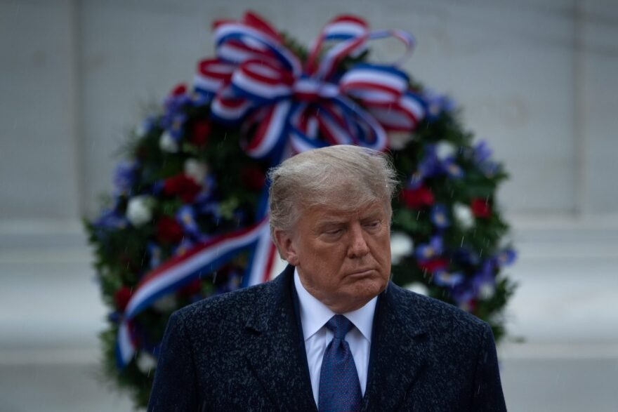 """US President Donald Trump attends a """"National Day of Observance"""" wreath laying ceremony on at Arlington National Cemetery in Arlington, Virginia."""