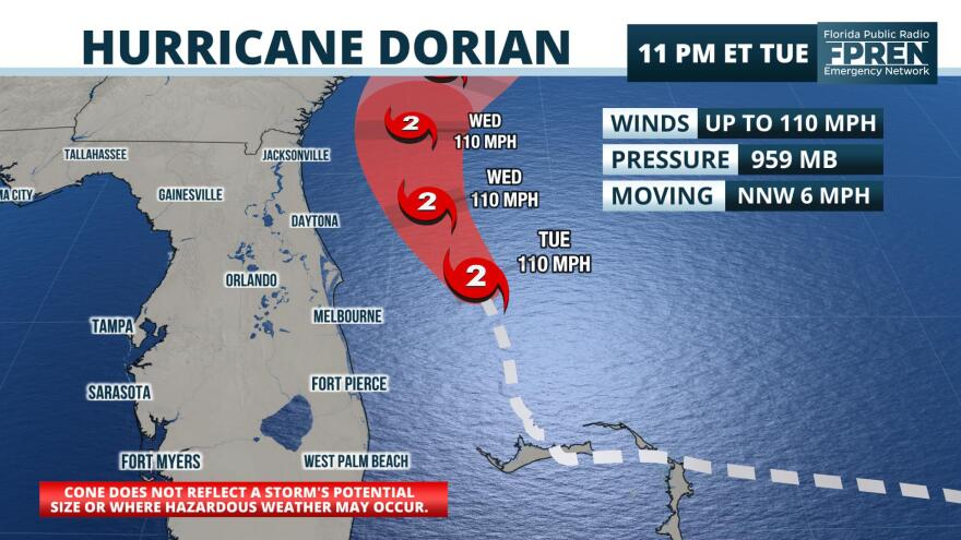 The 11 p.m. Tuesday advisory from the National Hurricane Center showed Hurricane Dorian as a Category 2 storm moving 8 mph NNW.