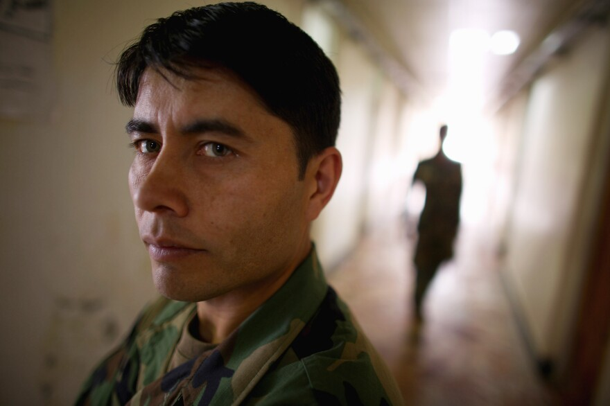 Afghan commando Sgt. Maj. Faiz Mohammed Wafa at Camp Commando.