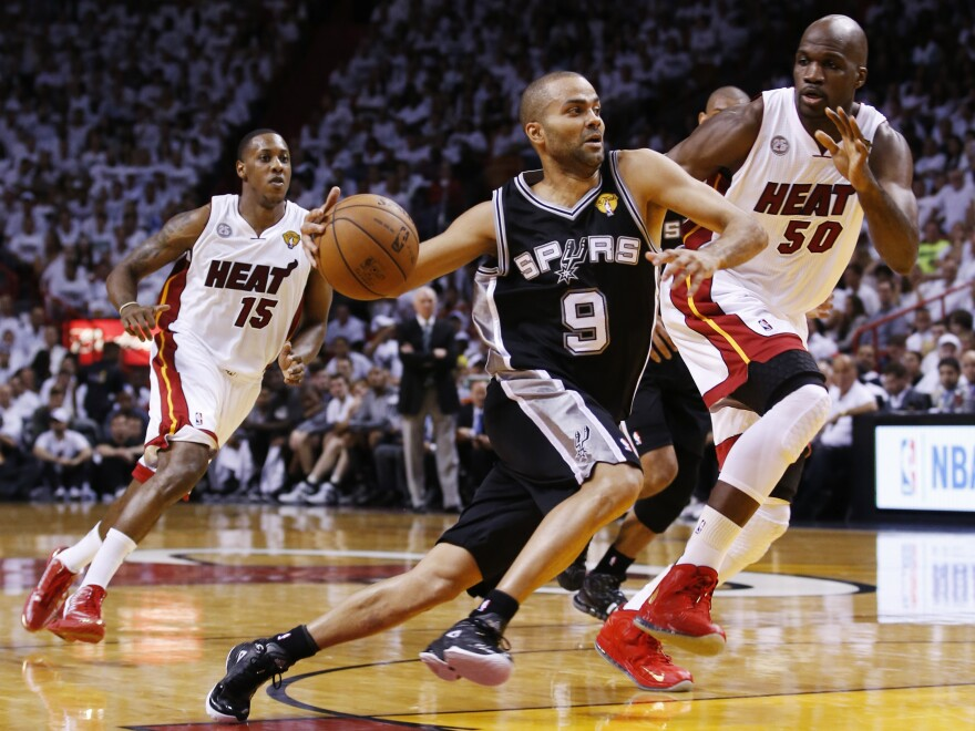 Tony Parker of the San Antonio Spurs during Thursday night's first game of the NBA finals in Miami. The Spurs beat the Miami Heat, 92-88.
