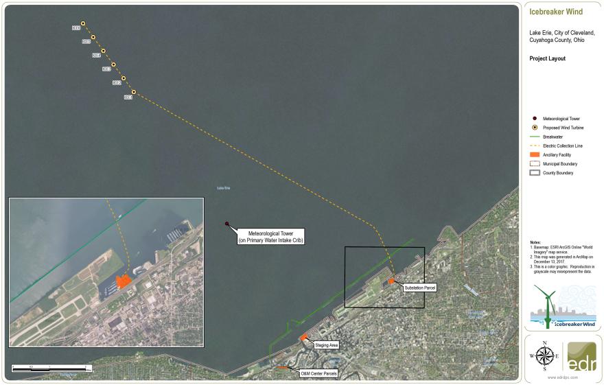 Project layout of Icebreaker Wind Farm