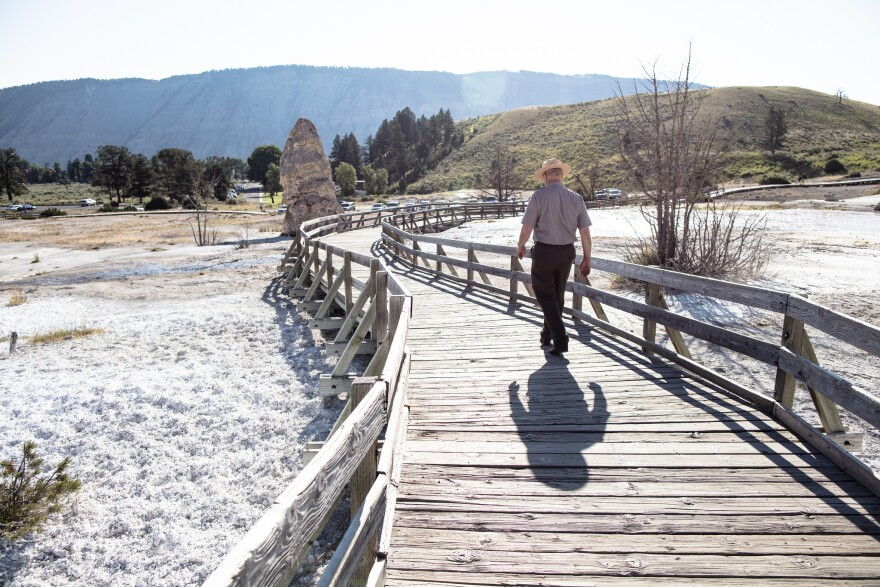 Yellowstone National Park Superintendent Dan Wenk on the boardwalks of Mammoth Hot Springs.