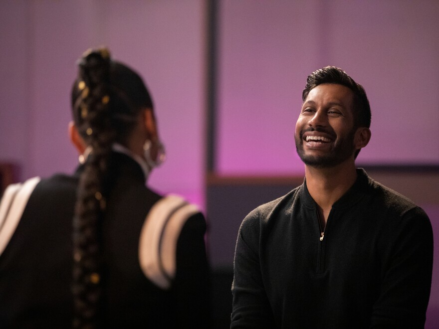 Alicia Keys and Hrishikesh Hirway in Netflix's new documentary series, <em>Song Exploder</em> — an adaptation of Hirway's popular podcast.