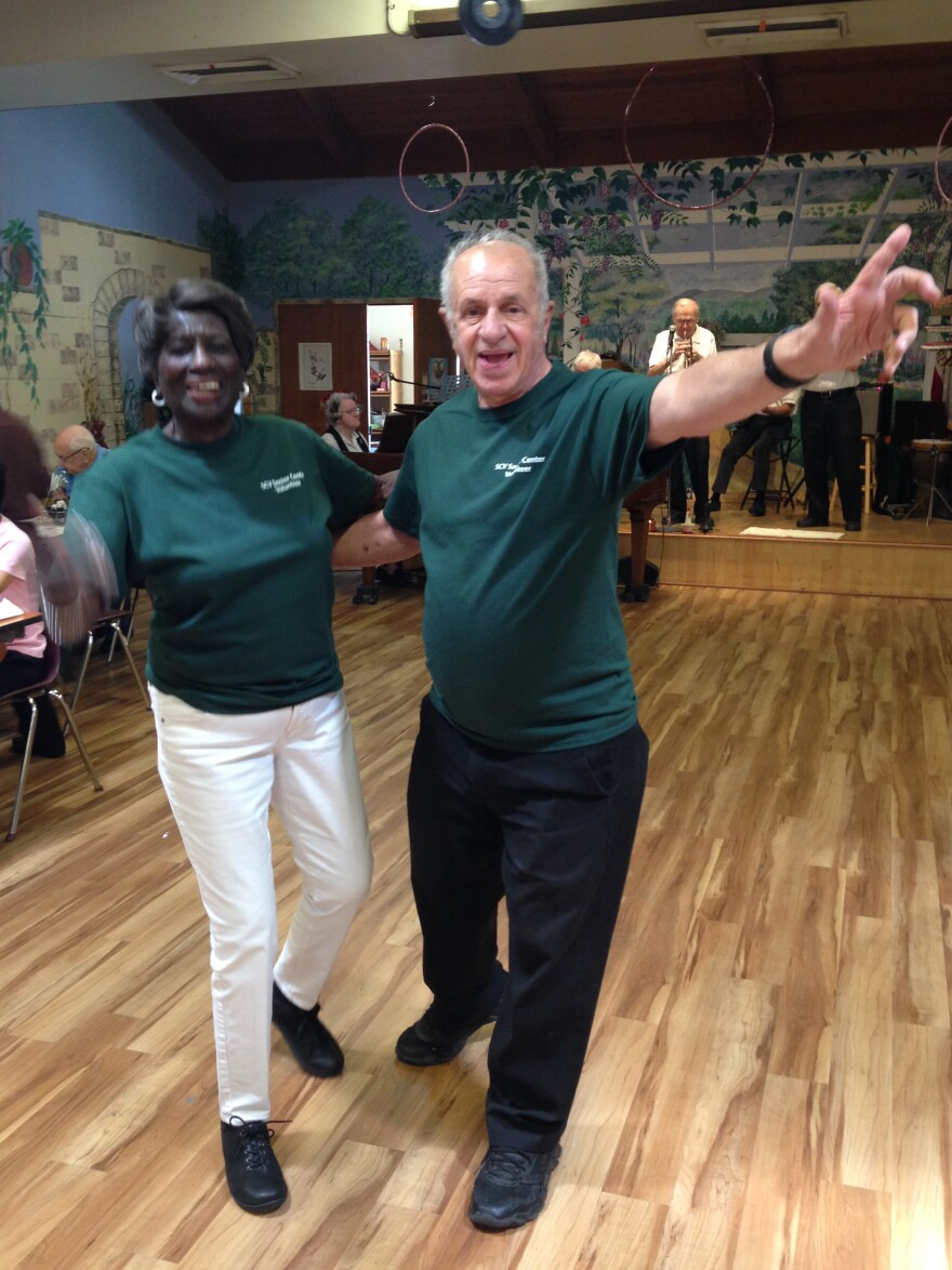 Tommie Ward and Rudy Pavini dance at the Santa Clarita Valley Senior Center near Los Angeles.