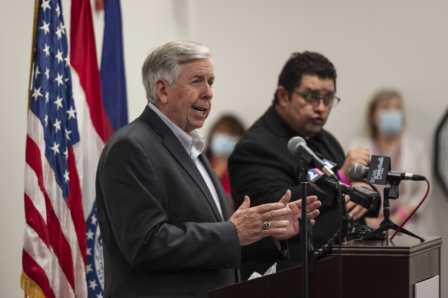 Gov. Mike Parson answers a reporter's question at a press conference in Clayton on May 29, 2020.