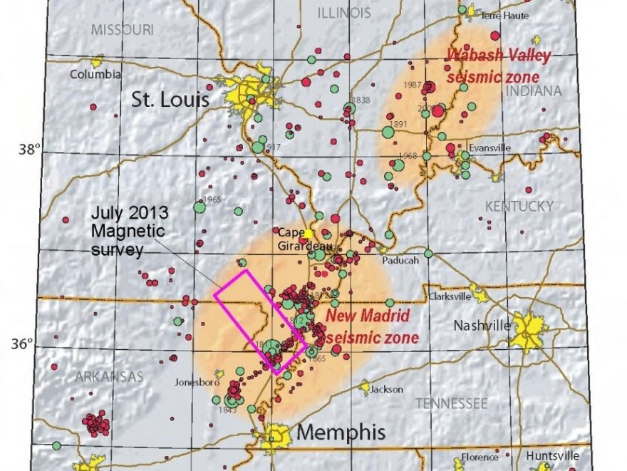 Map showing seismic activity in the New Madrid Seismic Zone.