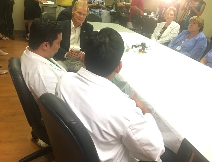 Sen. Bill Nelson meets with UF Health doctors and nurses Tuesday.