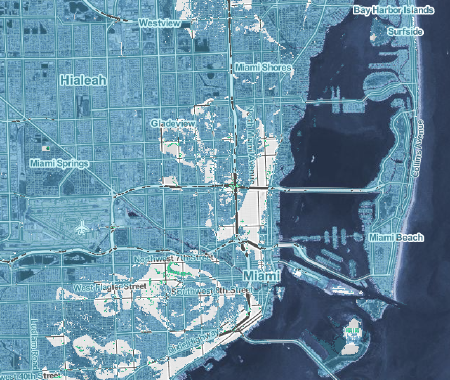 "A map from the Climate Central study shows how the greater Miami area could be impacted if rising seas reach NOAA's ""extreme"" projection. Areas in blue are submerged."