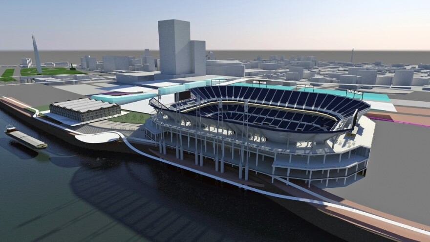 This artist's rendering shows an aerial view of the massing model of the new football stadium, looking southwest.